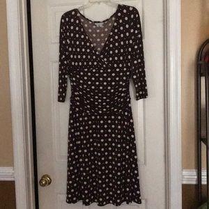 Plus Size Brown and White Polka Dot Stretch Dress